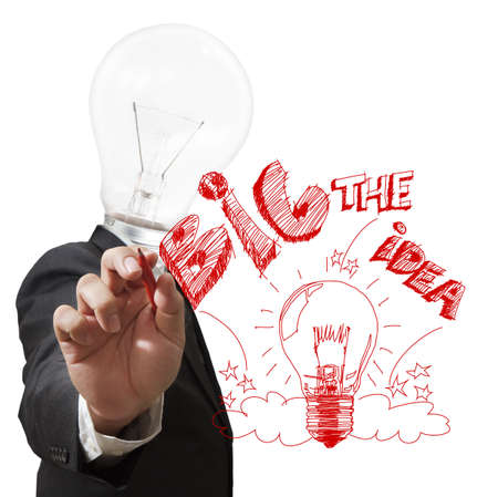 brain storm: Businessman,light bulb head draws the big idea with red pen Stock Photo