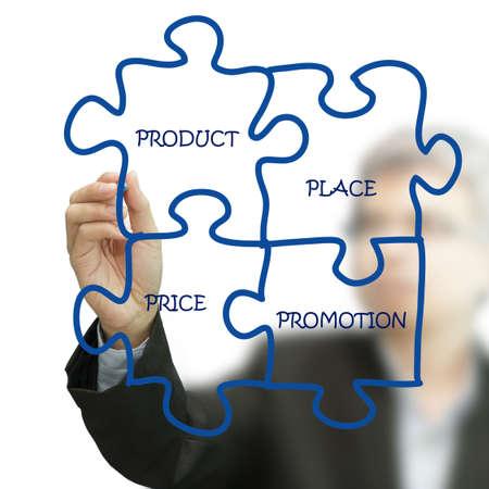 satisfaction client: main homme d'affaires tire sch�ma de puzzle sur tableau blanc Banque d'images