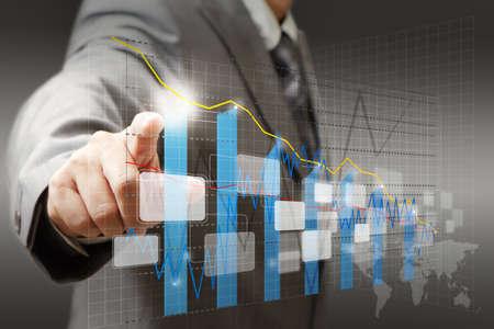 mano touch: mano d'affari grafico contatto virtuale, grafico, diagramma