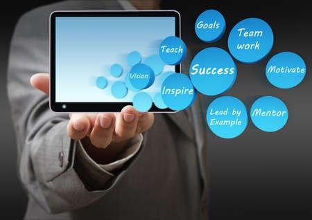 formacion empresarial: mano negocios diagrama muestra el �xito icono y Tablet PC
