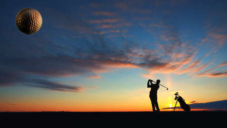 tee off: A man playing golf on sunset