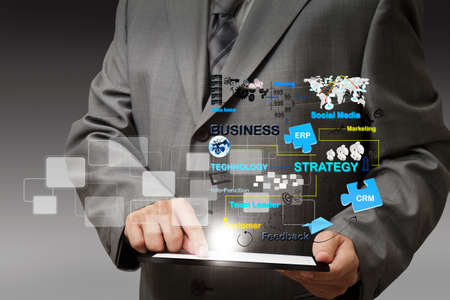 태블릿 컴퓨터 가상 비즈니스 프로세스 다이어그램의 비즈니스 사람 손 터치