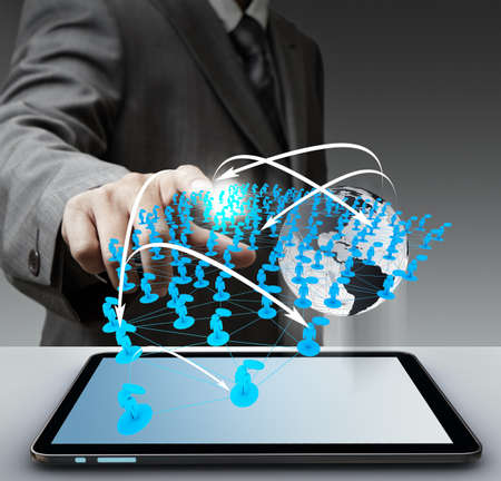 business man hand touch virtual social network Elements of this image furnished by NASA