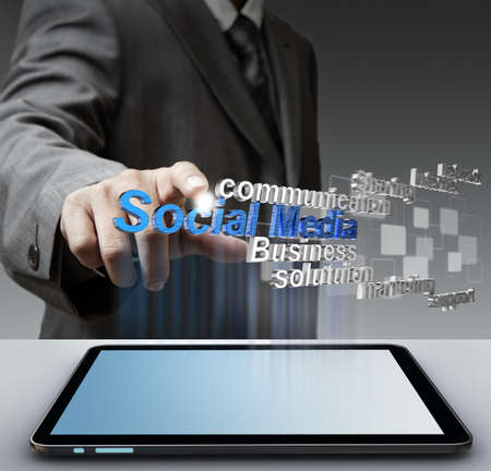 businessman hand shows 3d social media as concept Stock Photo - 16096812