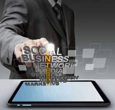 business man hand shows 3d word internet concept photo