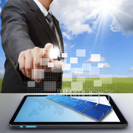 solar farm: business man work with virtual green business Stock Photo