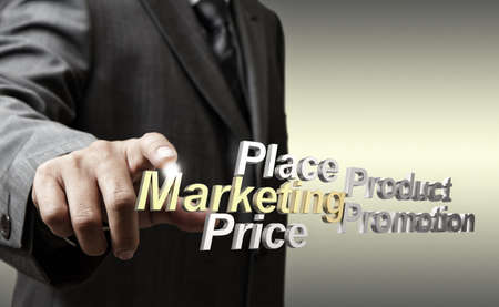 business man hand touch 3d metallic marketing4p diagram as concept photo