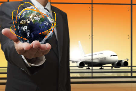 business man shows social network conceptElements of this image furnished by NASA Stock Photo