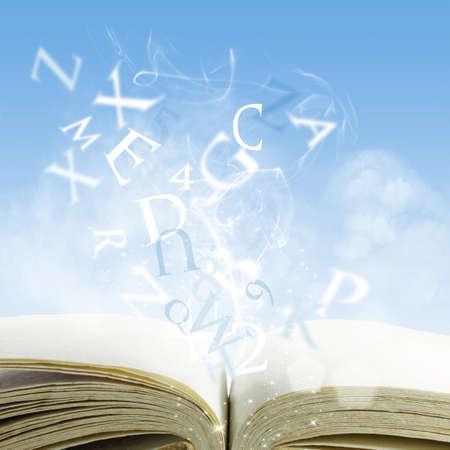 open boek op een wolk Stockfoto