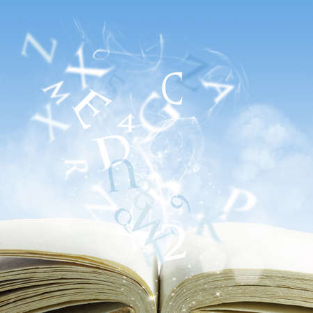 dictionaries: open book on a cloud
