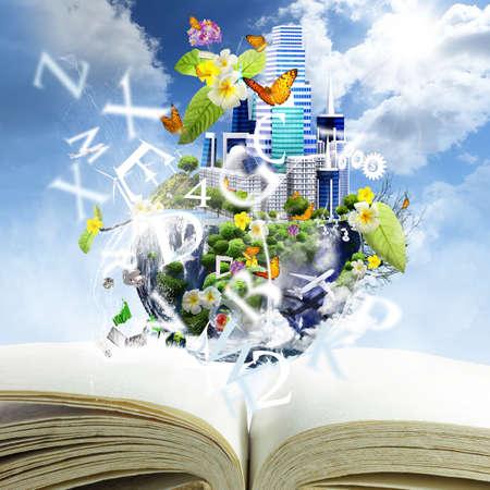 Offenes Buch mit weltweit Saison-Konzept Standard-Bild - 16097607