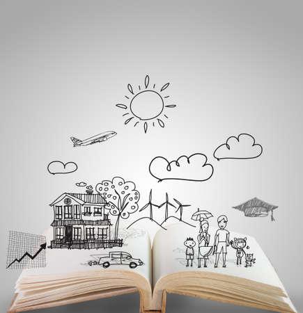 lezing: open boek van de familie verhaal Stockfoto