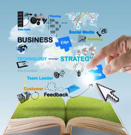 otevřená kniha z ruky bodu na obchodní sítě schéma koncepce Reklamní fotografie