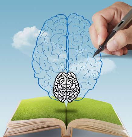 neurona: libro abierto de la mano dibujada cerebro p�xel como concepto
