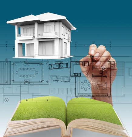 House plan blueprints, designers hand Stock Photo