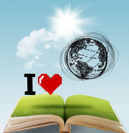 open book of I LOVE THE EARTH Stock Photo - 16096935