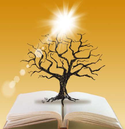 dode bladeren: open boek van Silhouette dode boom zonder bladeren