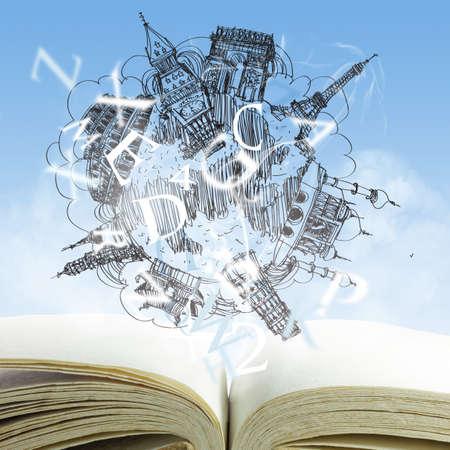 negocios internacionales: libro abierto y los viajes sue�o dibujo Foto de archivo