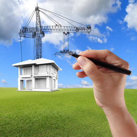 construction crane: house building and cranes by hand drawn