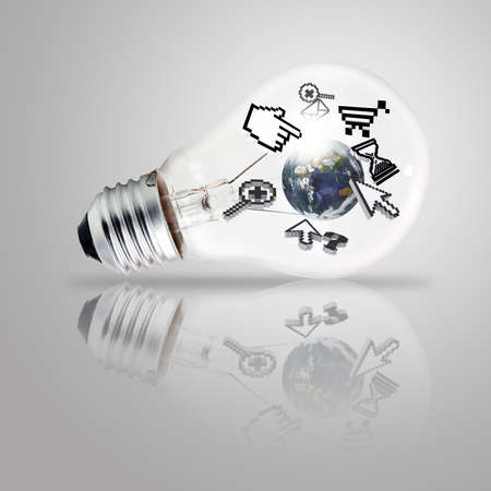 light bulb and computer cursor as internet concept, elements of this image furnished by NASA photo