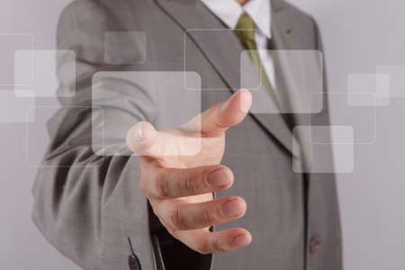 press button: businessman hand touch the touch screen interface