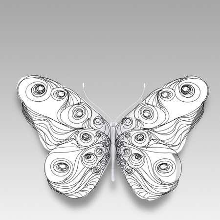 trabajo manual: dibujado a mano mariposa en blanco Foto de archivo