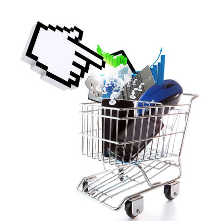 online shopping concept on white background photo