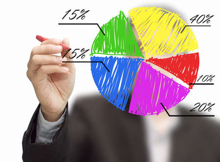 Male hand drawing a chart Stock Photo
