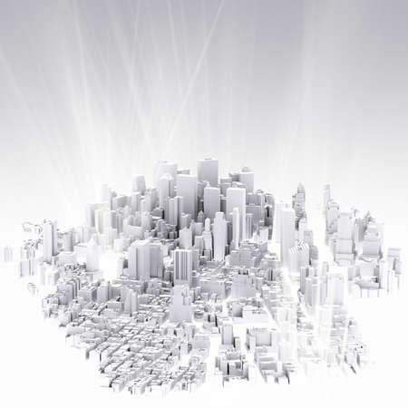3 차원의 이미지는 도시의 풍경과 빛 배경에 렌더링 스톡 콘텐츠