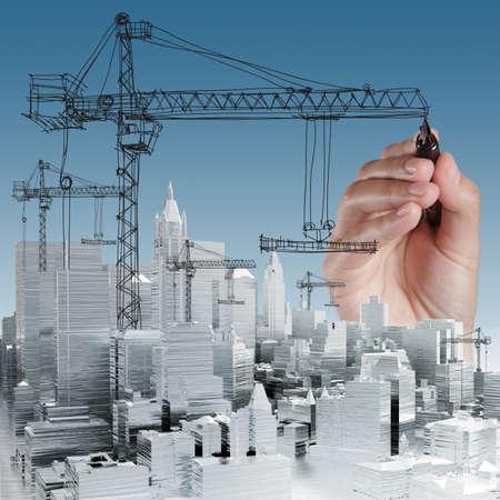 손으로 그린 빌딩 개발 개념