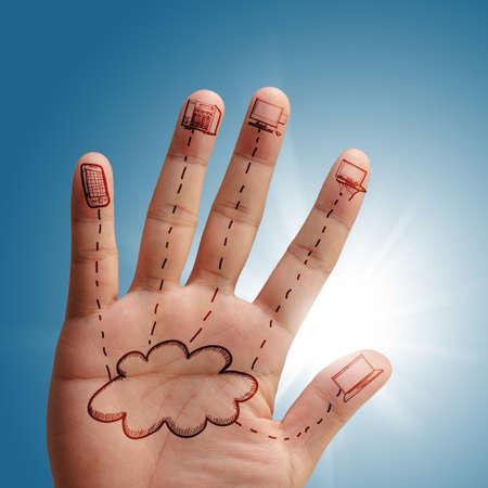 cloud network in hand as concept Standard-Bild