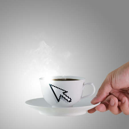 hand holds a cup of coffee with arrow cursor sign photo
