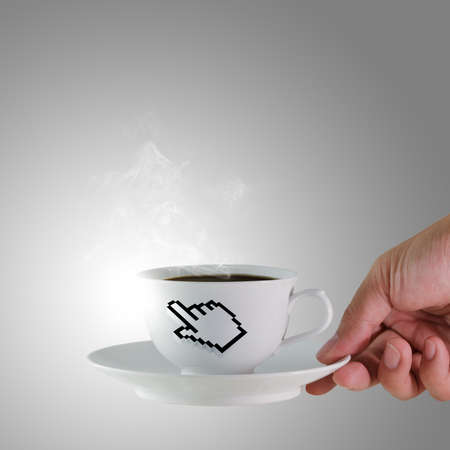 hand holds a cup of coffee with hand cursor sign photo