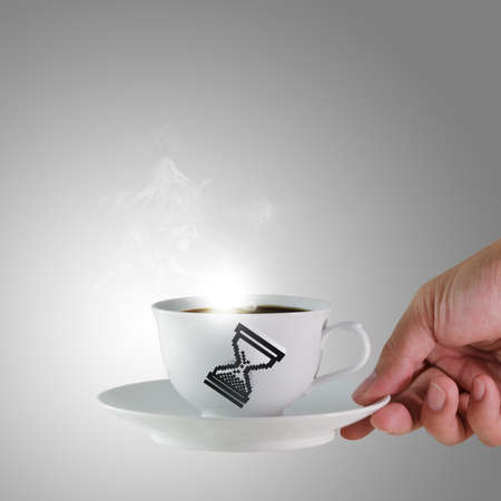 coffee hour: hand holds a cup of coffee with glass hour cursor sign