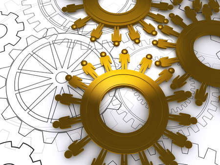 human energy: golden people cogs on blue print as concept  Stock Photo