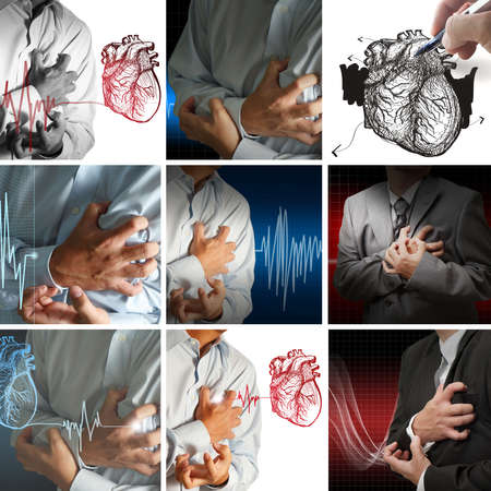 angina: collection of heart attack Stock Photo