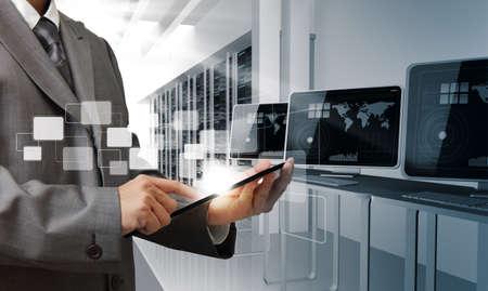 computer repair technician: business man hand controls computer room