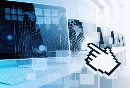 디지털 컴퓨터와 손 커서 배경 스톡 콘텐츠