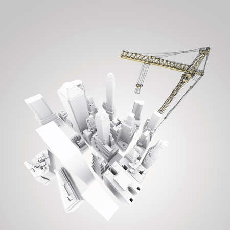 the top model: abstract 3d of building development concept