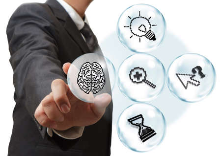 business hand touch pixel icons in bubble diagram as concept Stock Photo - 16083009