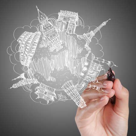 mundo manos: empresario dibujar el recorrido de ensueño alrededor del mundo
