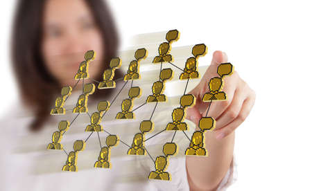 business woman hand holding 3d pixel social network icon as concept photo