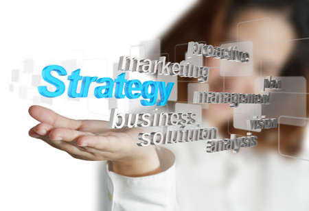 business woman hand shows 3d business strategy icon as concept photo