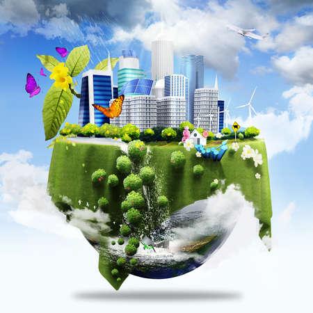 반 지구는 도시와 잔디와 그린 비즈니스 개념으로 그 표면에 다른 요소로 커버