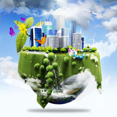 half earth covers with city and grass and different elements on its surface as green business concept