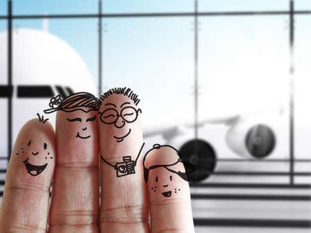 Prst rodina na letišti Reklamní fotografie