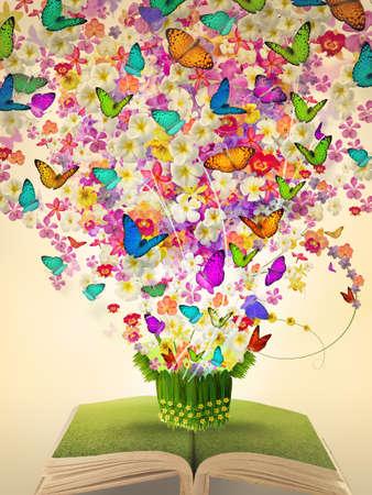 otevřené vintage kniha hojnosti květin a motýl vyrůstající z dárkové sběracího koše Reklamní fotografie