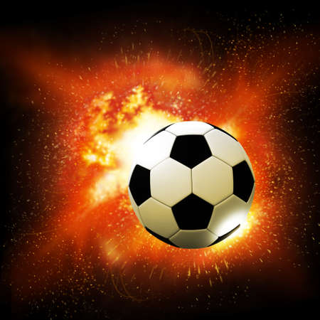 flame soccer ball on fire background  photo