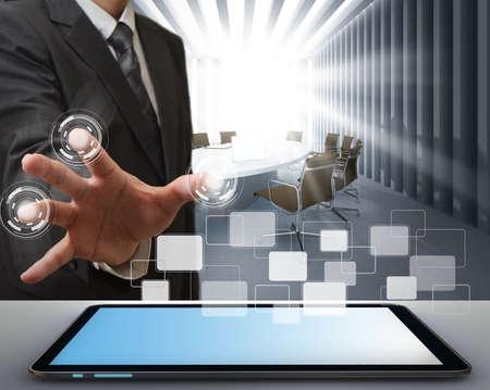 business technology: business man working on modern technology