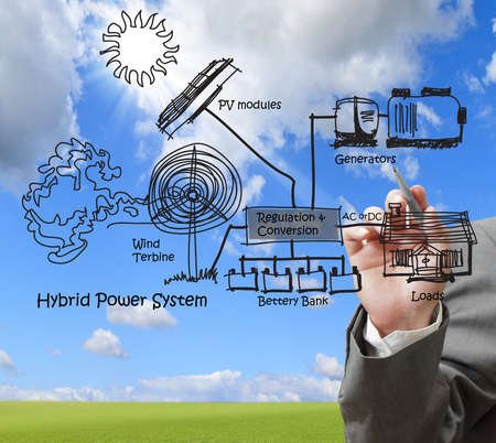 engineer draws hybrid power system,combine multiple sources diagram photo
